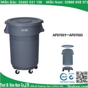 Thùng rác tròn 120l có bánh xe AF07502